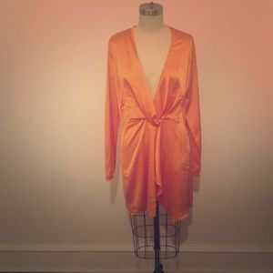 PrettyLittleThing Dresses - Tangerine Long Slv Satin Wrap Dress